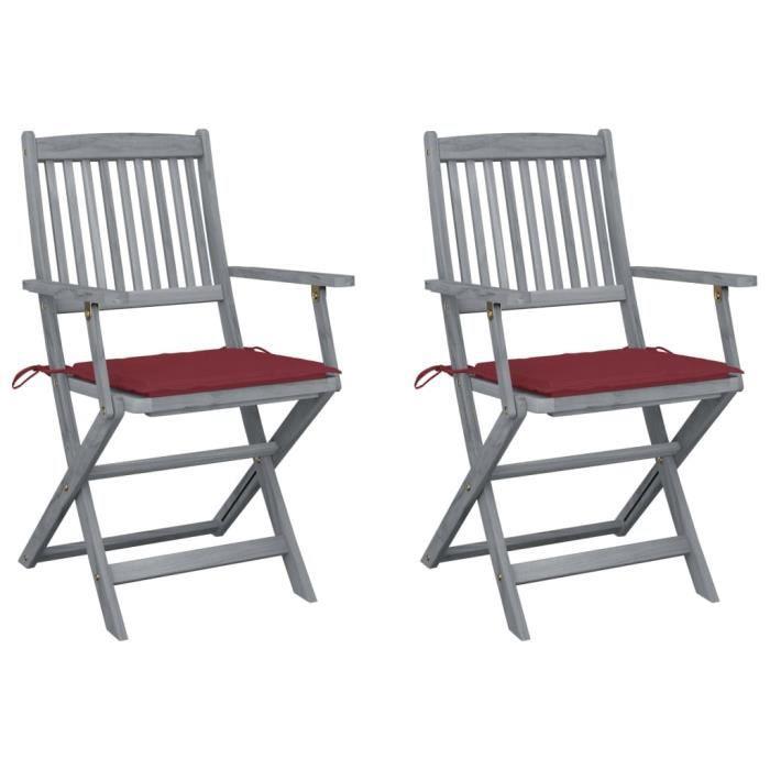 HOME•8761Pack de 2 Chaises pliables d'extérieur - Fauteuils de Jardin Chaises de Camping Professionnel avec coussins Bois d'acacia