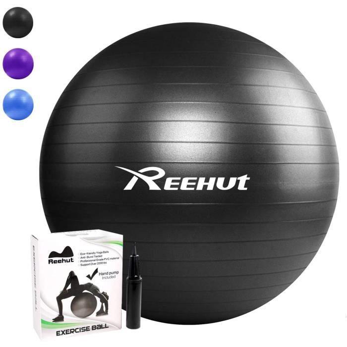 REEHUT Ballon Fitness Yoga Balle d'Exercice Antidérapant Balle Gymnastique avec Pompe 55cm 65cm 75cm - pour Entraînement Grossesse E
