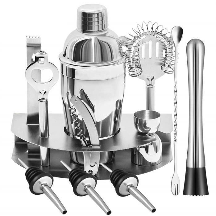 12 pièces barre barman acier inoxydable Cocktail Shaker mélangeur Kit Shaker cuillère glace Tong outils ensemble avec casier à v