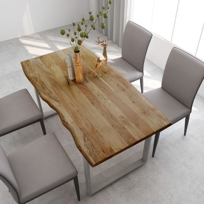 Table salle à manger de 4 à 6 personnes Industriel et Rustique - Bois d'acacia Solide & Pieds en Acier Argenté - 160x80x76 cm