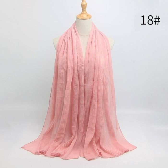 Foulard hijab en coton froissé, écharpe douce, écharpe chaude, écharpe chaude, châle, 25 couleurs, Design hiver, tendanc DY5102