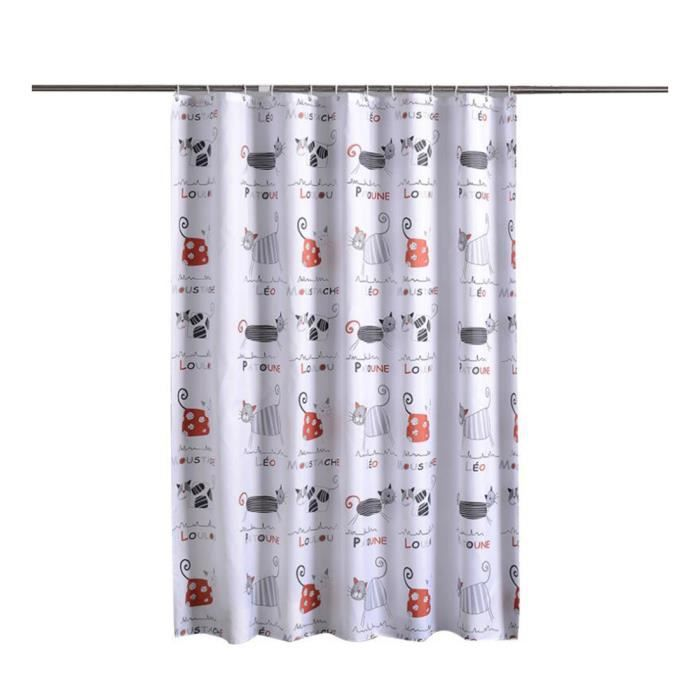 Rideau de Douche Imperméable Anti-moisissure Extra Larges - Longs Lavable Polyester Rideau de Bain Chat 80*180 cm