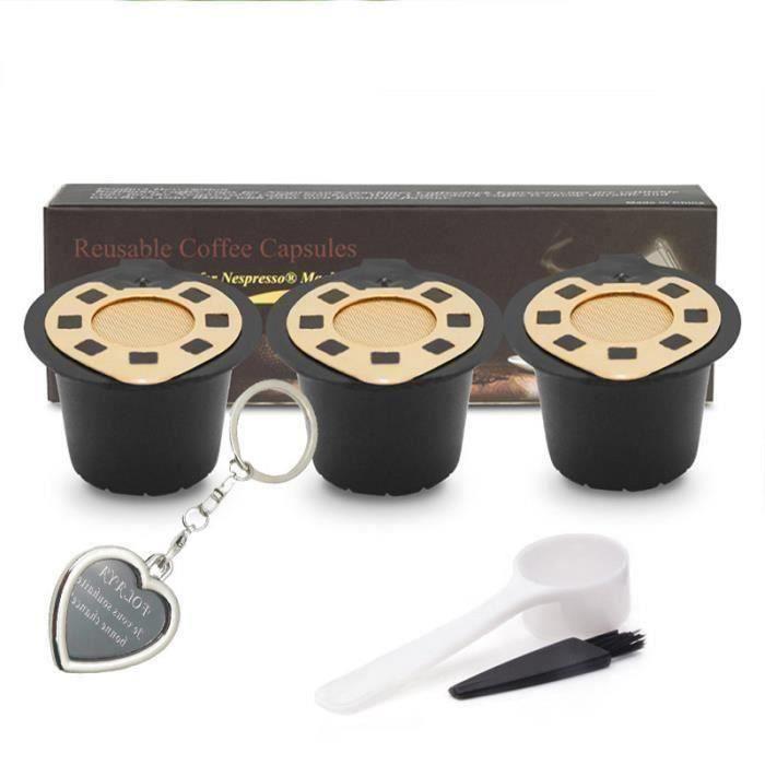 3PCS Capsule Filtre de Café Réutilisables Compatibles avec Nespresso + 1 Cuillère Plastique + 1 Brosse de Nettoyage (plaqué or)