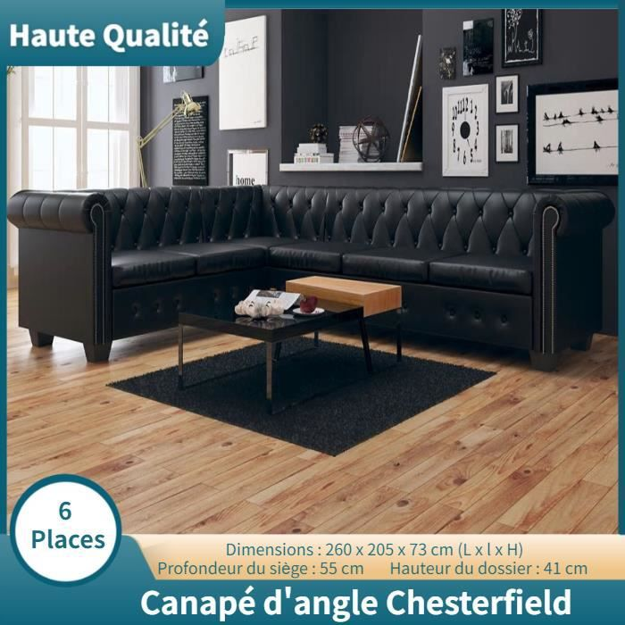 Canapé d'angle 6 places Noir Cuir Design