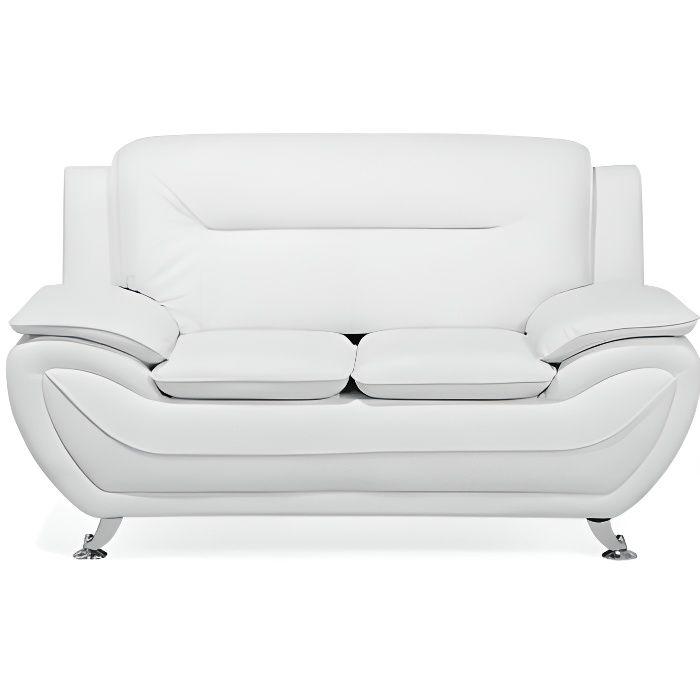Beliani - Canapé 2 places en simili-cuir blanc LEIRA