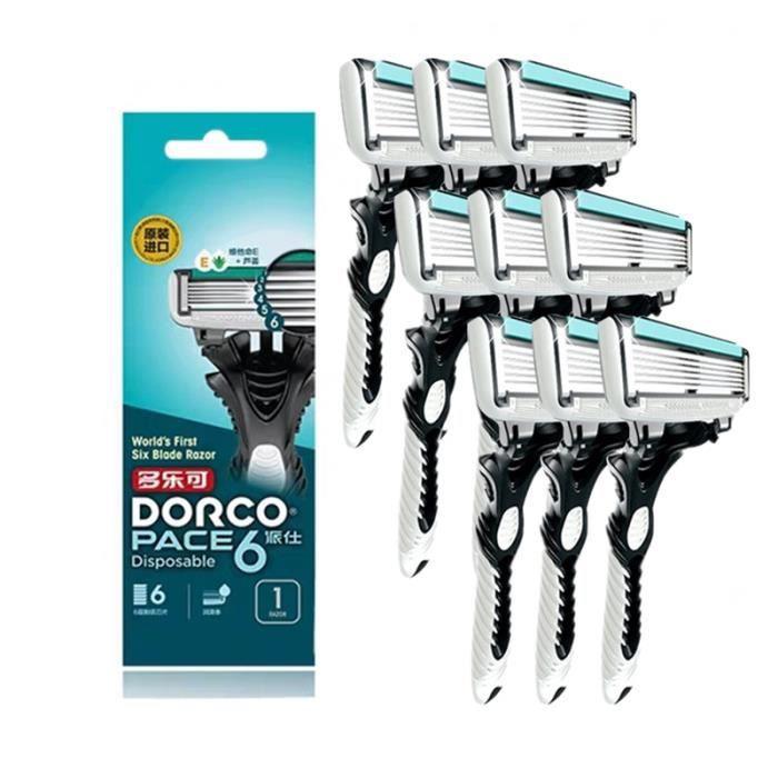 9pcs DORCO – rasoir à 6 couches en acier inoxydable pour hommes, lames originales de haute qualité, soin de l