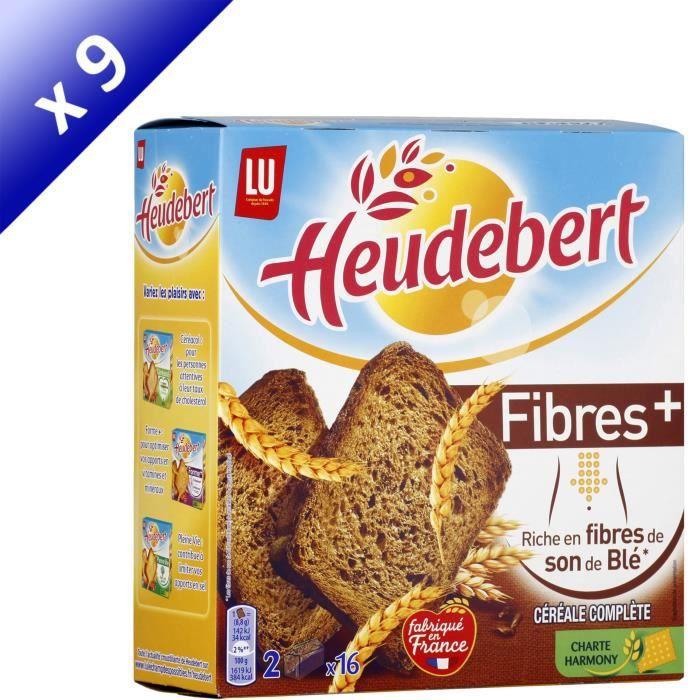[LOT DE 9] HEUDEBERT Biscottes céréales complètes Fibres +