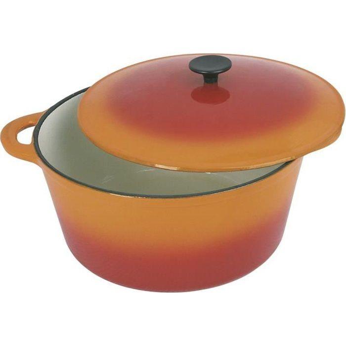 CREALYS GRAND CHEF Cocotte ronde en fonte d'acier émaillée - Ø 21 cm - 2,5 L - Orange - Tous feux dont induction