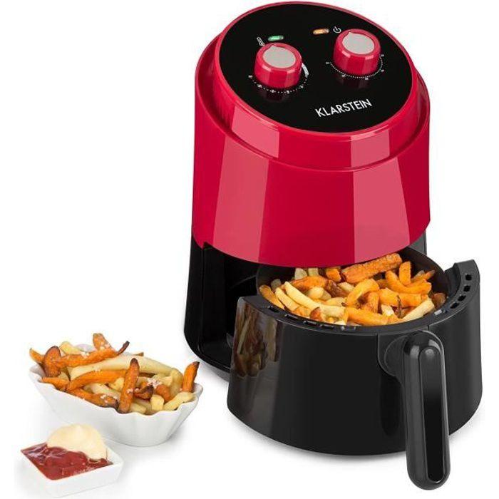 Klarstein Well Air Fry Friteuse à air chaud multifonction 1,5L pour cuisine saine sans huile - Cuve Ø 16cm - 1230W - Rouge