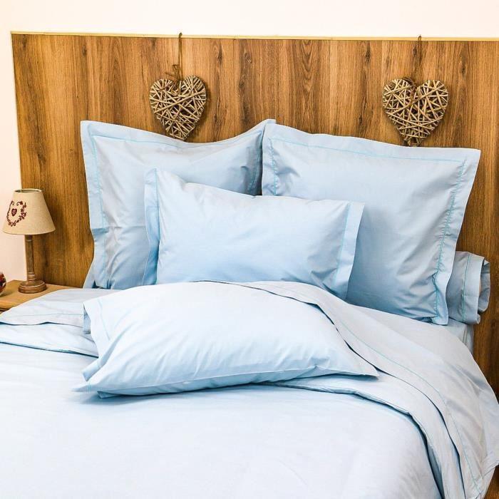 LINANDELLE - Housse de couette unie coton Percale 200 fils DESIREE - Bleu - 240x260 cm