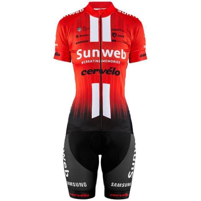 2019 Sunweb Cervélo Femme Maillot de Cyclisme Manches Courte + Cuissard à Bretelles Vélo GEL Tenue de VTT équipe Pro Tour de France