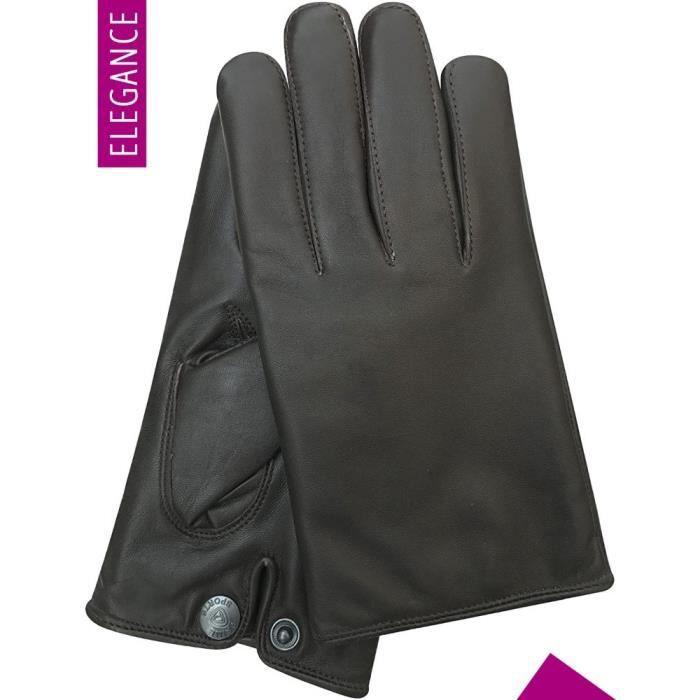 Gants Cuir Homme Mode Style Classe & Coupe Ajustée Elégance - Noir