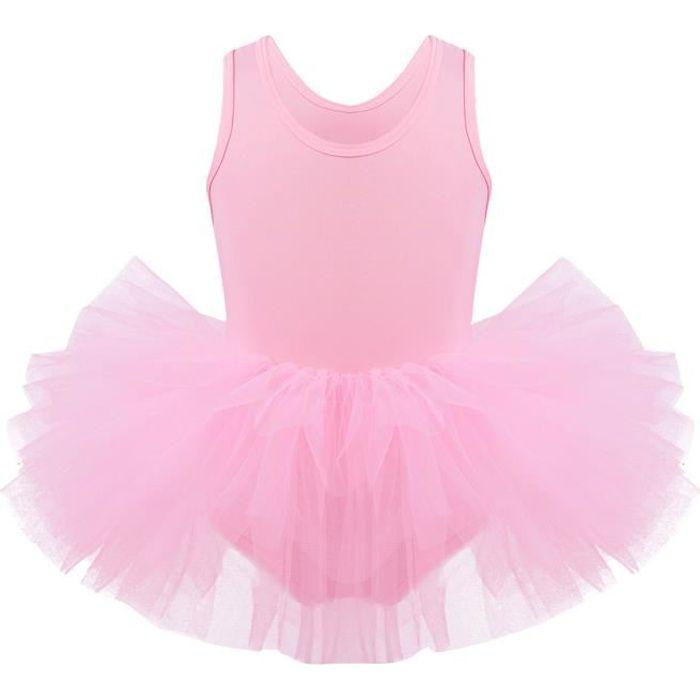 Enfant Fille Tutu Danse Classique Ballet Tulle Bodysuit Jumpsuit Dancewear 2-8 Ans Rose