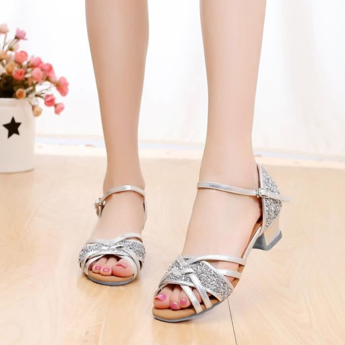 Haute qualité filles enfants enfants salle de bal Tango Salsa chaussures de danse latine sandales argent