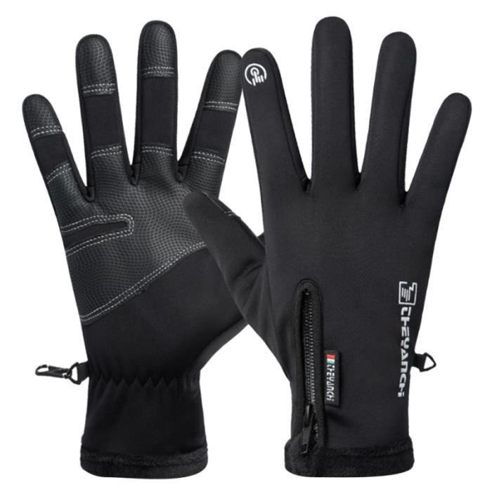 1 paire de gants d'équitation d'hiver chauds coupe-vent de vélo imperméables à écran tactile d'alpinisme pour hommes (noir, XL)