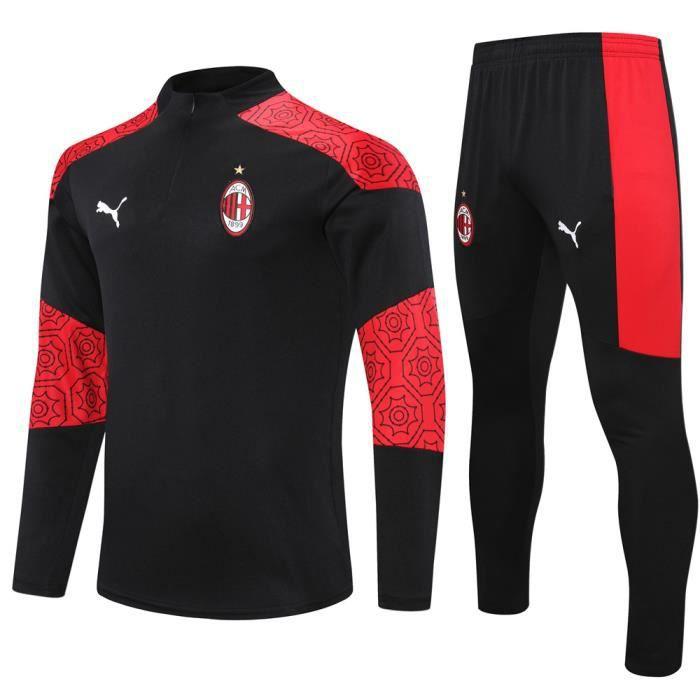 Tenue de Foot Enfants AC Milan - Maillot de Foot Homme Garcon Enfants 20-21 Survêtements de Foot(Haut + Pantalon)