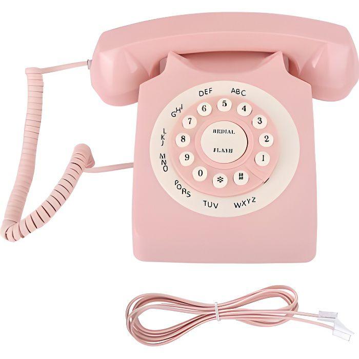 Téléphone rétro Classic Classic Vintage Téléphone câblé Téléphone Cordé Téléphone fixe Téléphone Rétro Vintage Style Maison