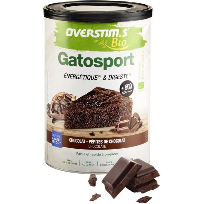 OVERSTIMS - Gatosport Bio (400 g) - Chocolat - Petit déjeuner énergétique avant effort
