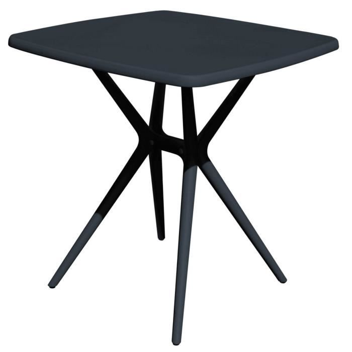 Table carrée en polypropylène coloris gris anthracite - L.70 x P.70 x H.76 cm