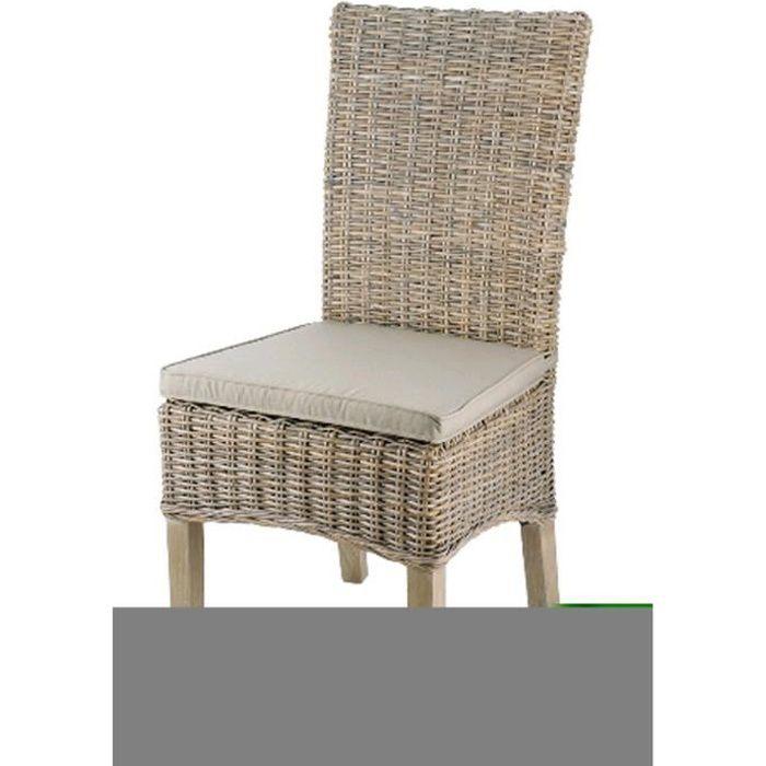 Chaise en rotin coloris taupe - Dim : L 48 x P 57 x Ht 105 x Ht Ass 46 cm