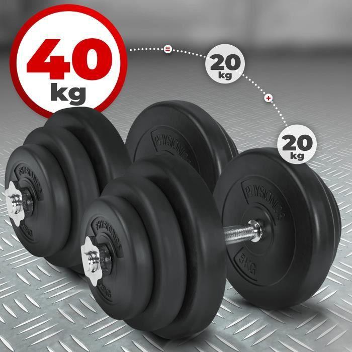 Physionics® Haltère / Poids de Musculation - 2 x 20 kg, 2 Barres Courtes et 4 Fermoirs - Disques pour Fitness, Set d'Haltères Courts