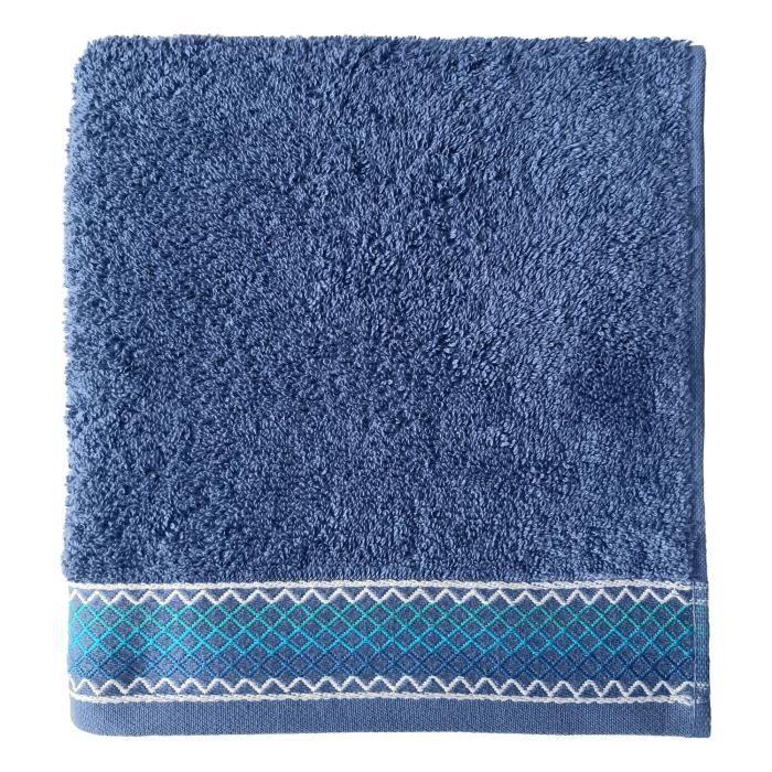 SANTENS Serviette de toilette 100 % Coton Orka - 50 x 100 cm - Bleu foncé