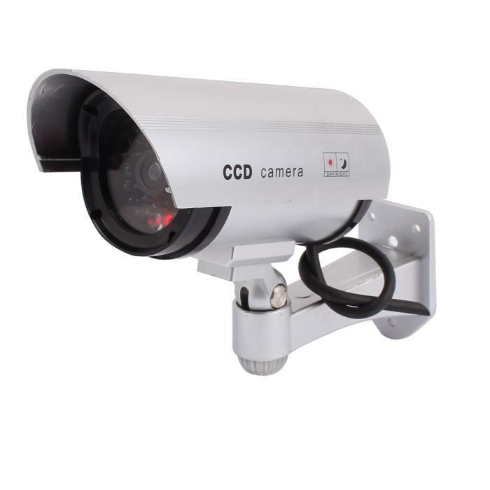 sourcing map Fausse caméra factice rouge clignotant Surveillance Sécurité Ext Int