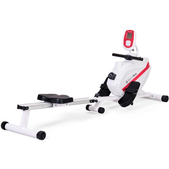 SportPlus - Rameur Pliable, freinage magnétique, 8 niveaux de résistance, Silencieux, Siège avec roulement à billes - Blanc
