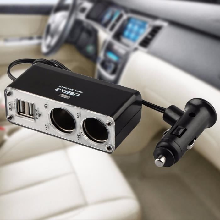 Allume Cigare 12-24V 2 USB 2 Distributeur Prise Socket Adaptateur Voiture Auto