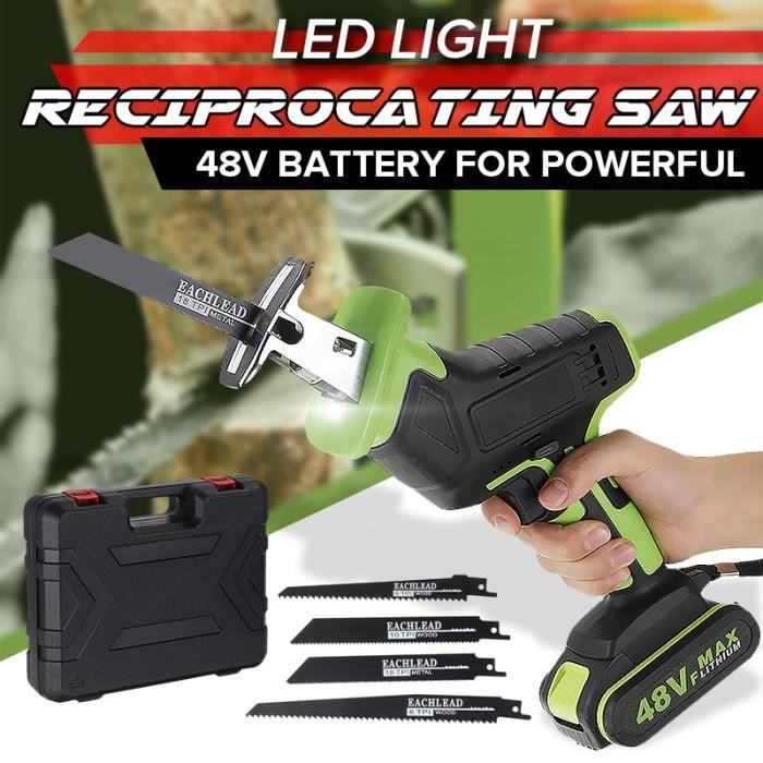 TEMPSA Scie Alternative Electrique Sans fil + 2 Batteries + 4 Lames PRISE US