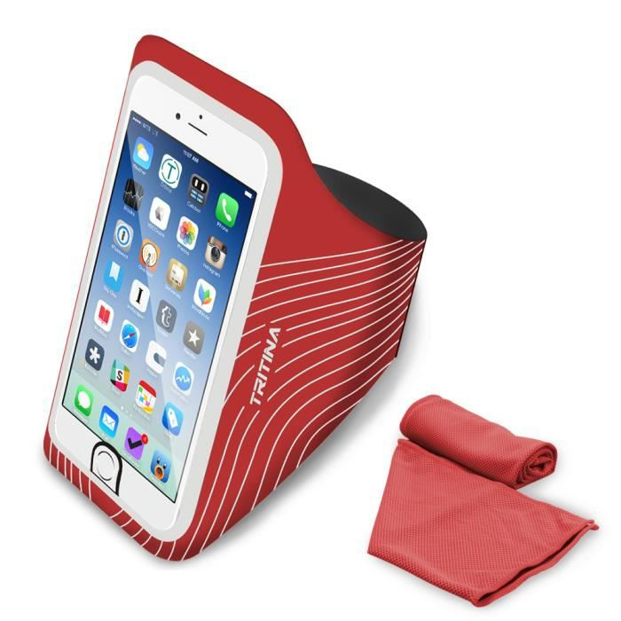 Tritina Running Armband pour Smartphone comprend Fingerprint Touch pour Iphone + Fitness instantané Cool Toile Rouge