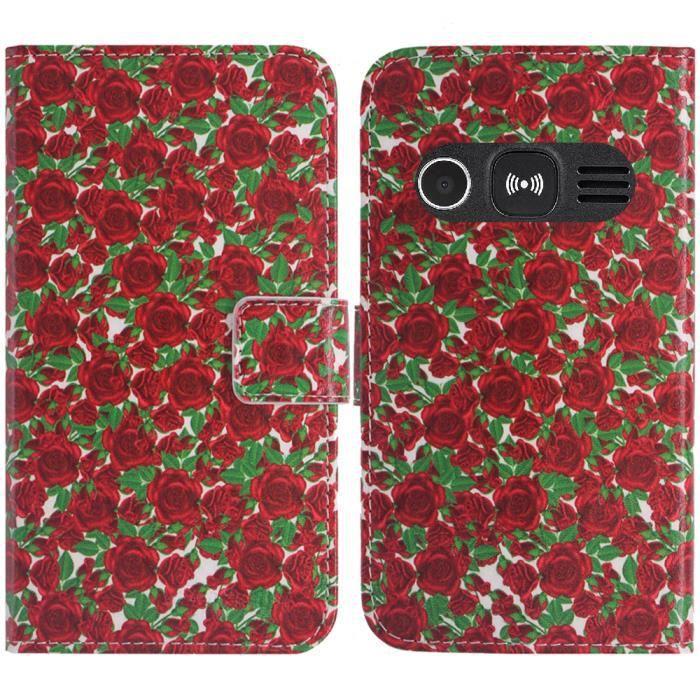 TienJueShi Dor/é Luxe Cuir Housse T/él/éphone Case pour Doro 8035 Coque /Étui Cas Couverture Protecteur Cover Premium Portefeuille Support /à Rabat