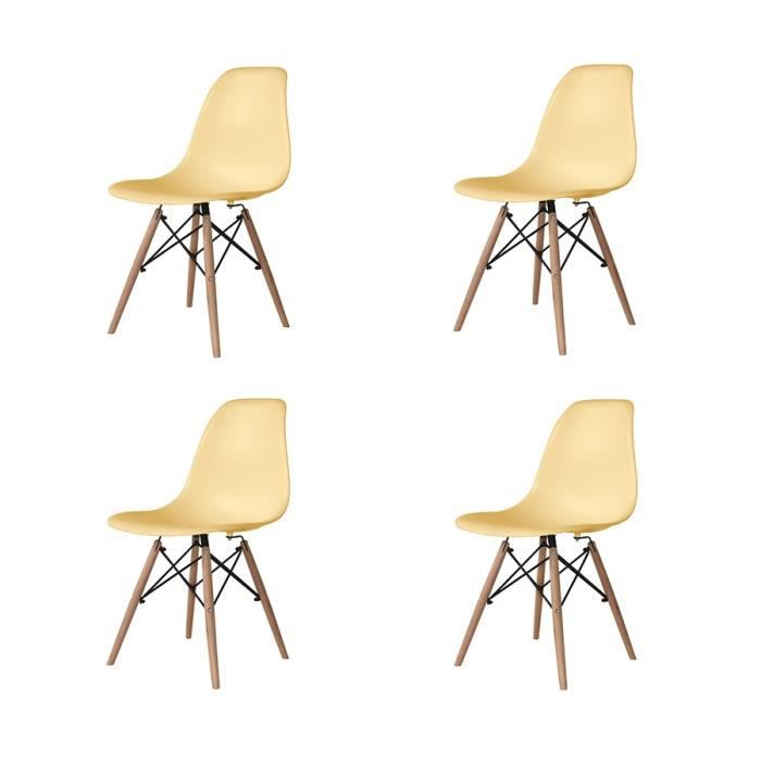 Free pack chaises tower wood couleurs vanille achat vente for Meuble cuisine couleur vanille
