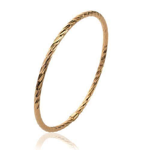 Bracelet Jonc Épais Plaqué Or 18 Carats 750//1000 Diamètre 6,2 CM