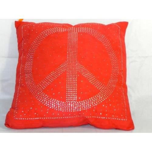 coussin peace love design 40 x 40 cm orange achat vente coussin cdiscount. Black Bedroom Furniture Sets. Home Design Ideas