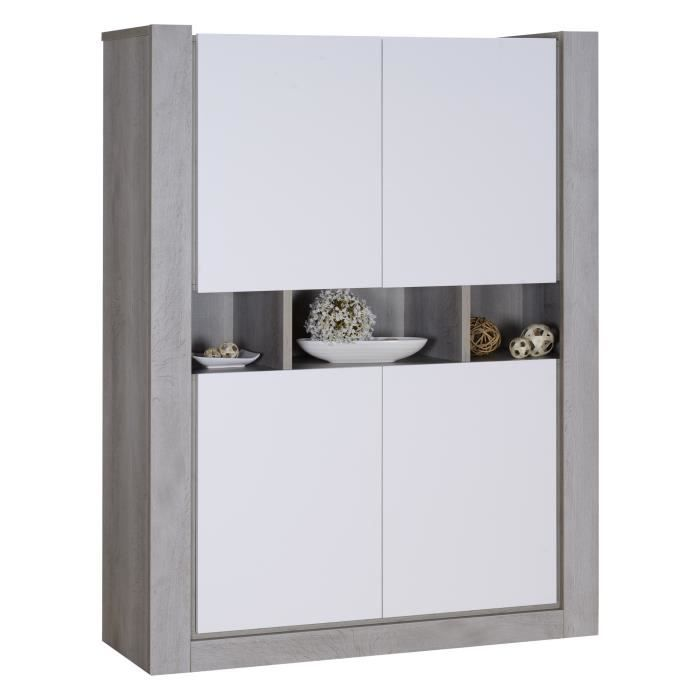norden buffet haut contemporain gris et laqu blanc mat. Black Bedroom Furniture Sets. Home Design Ideas