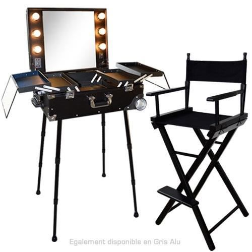 ensemble studio make up noir table et chaise m achat vente tabouret noir cdiscount. Black Bedroom Furniture Sets. Home Design Ideas