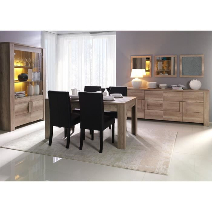 salle manger compl te couleur ch ne clair contemporaine doriane table 180 cm sans achat. Black Bedroom Furniture Sets. Home Design Ideas