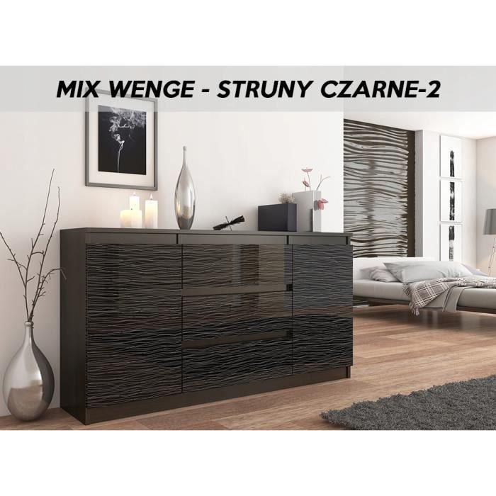ALBI 2W | Commode tendance meuble rangement buffet chambre/salon/bureau |  140x40x76cm | 3 tiroirs 2 portes | Finition Gloss |