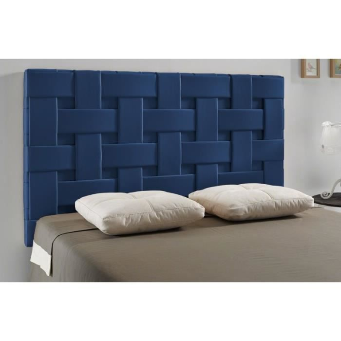 t te de lit tress pu couleur bleu mesure lit de. Black Bedroom Furniture Sets. Home Design Ideas