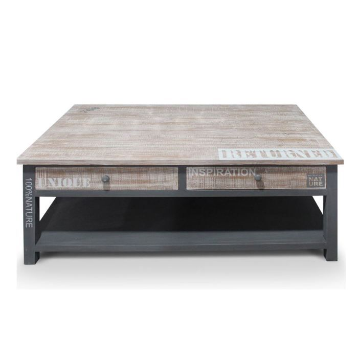 Table basse en bois naturel grise natura achat vente for Table basse en bois naturel