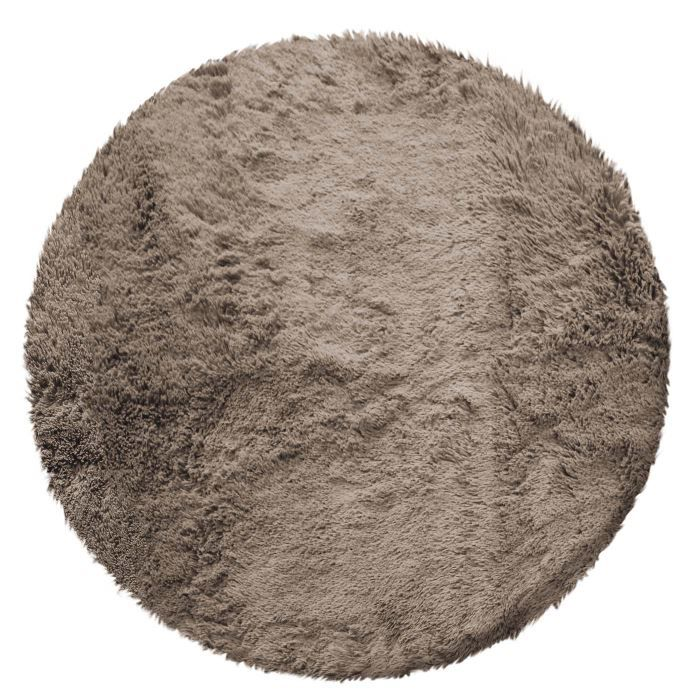 tapis rond poils longs 90cm marmotte taupe achat vente tapis cdiscount. Black Bedroom Furniture Sets. Home Design Ideas