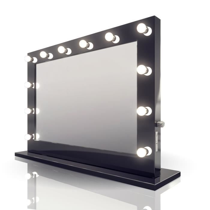 Miroir de maquillage hollywood brillant noir lampes del for Miroir hollywood