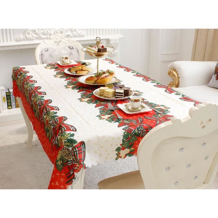 Nappe de table rectangulaire no l d coration table maison - Nappe table exterieur ...