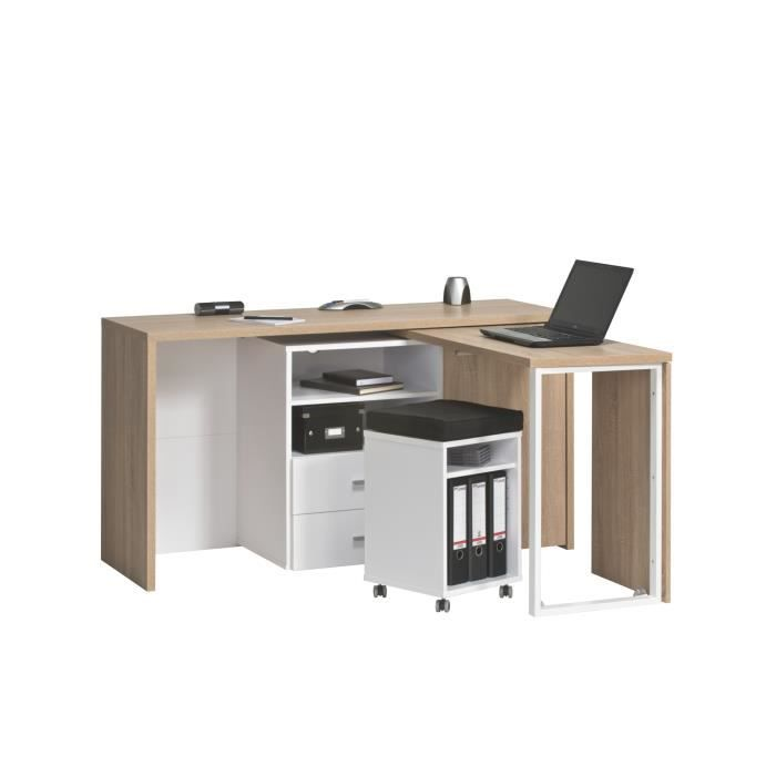 bureau informatique contemporain en bois ch ne sonoma blanc albanie achat vente bureau. Black Bedroom Furniture Sets. Home Design Ideas