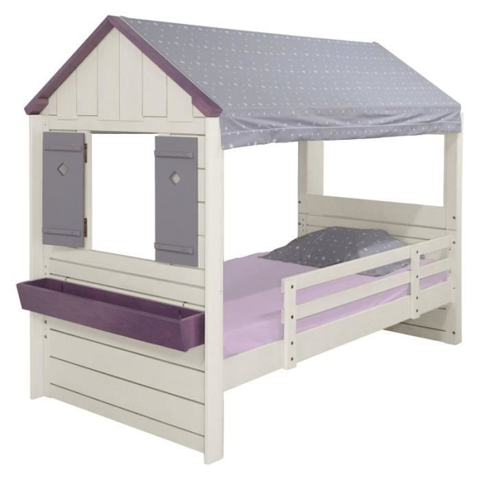 lit cabane enfant pm blanc et gris toil achat vente lit combine cdiscount. Black Bedroom Furniture Sets. Home Design Ideas