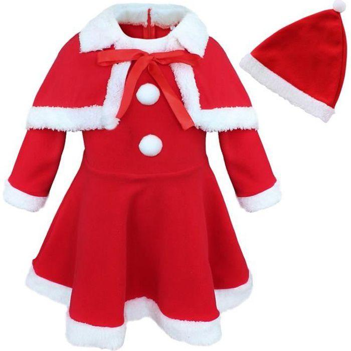 Tenue Noel Fille Robe Noël Fille   père Noël coton Polaire bonde Noël hiver