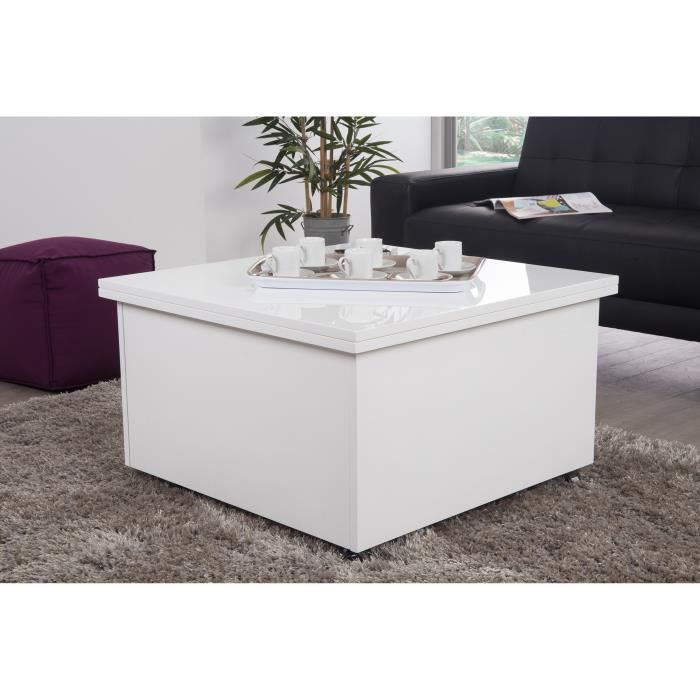 Table basse relevable 75 150x75 cm laqu blanc achat - Table basse relevable cdiscount ...