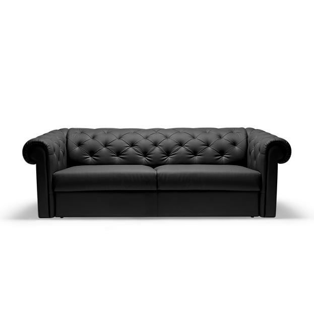 canap convertible rapido chesterfield cuir noir moncornerdeco. Black Bedroom Furniture Sets. Home Design Ideas