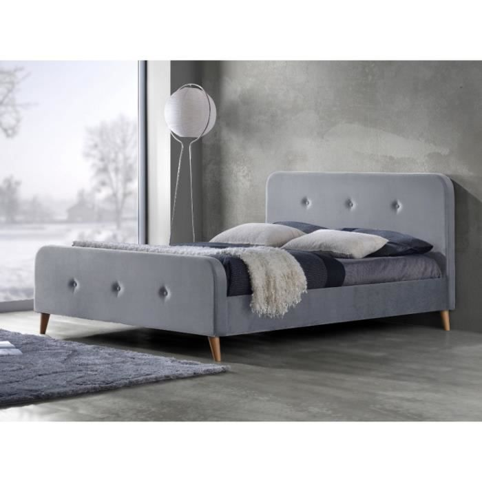 lit jose 140x190cm tissu gris achat vente structure de lit lit jose 140x190cm tiss. Black Bedroom Furniture Sets. Home Design Ideas